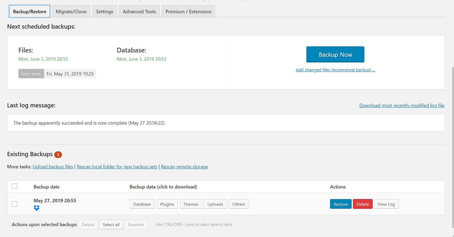 UpDraftPlus-dashboard
