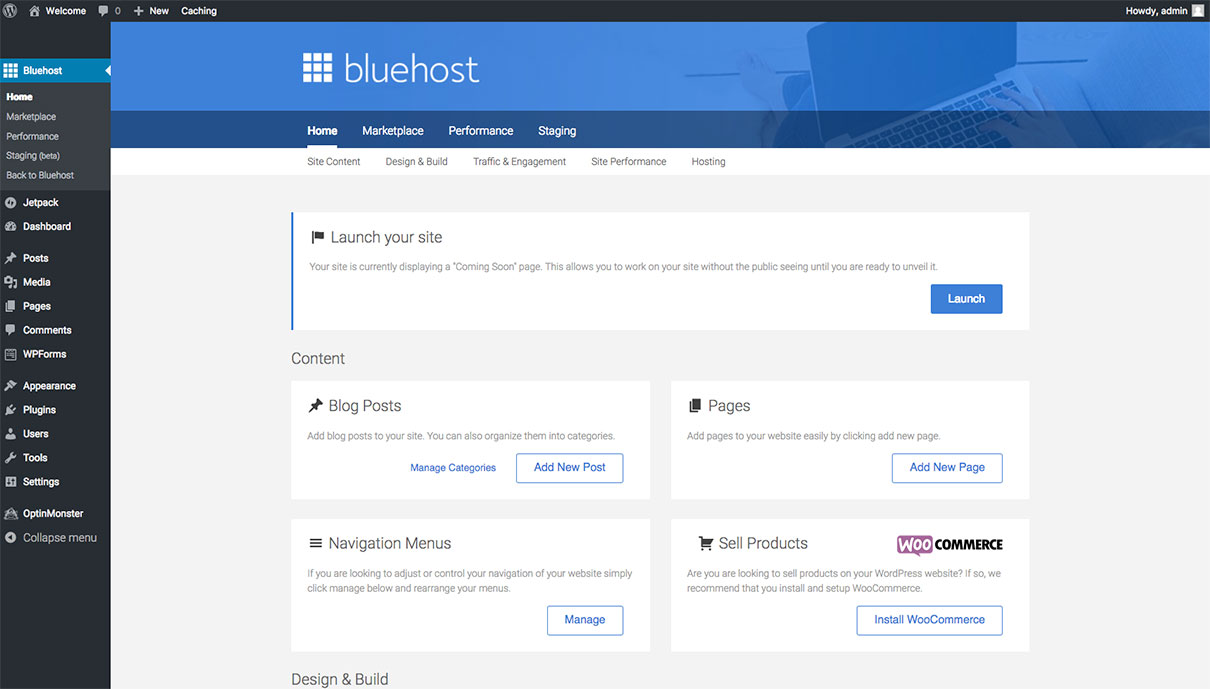 Bluehost dashboard