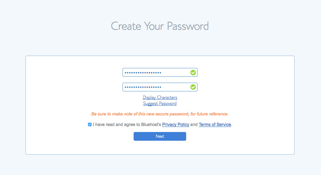 Choose password