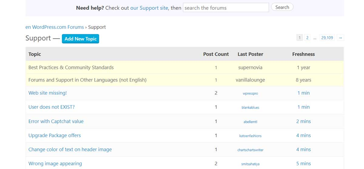 Detail of a WordPress.com forum