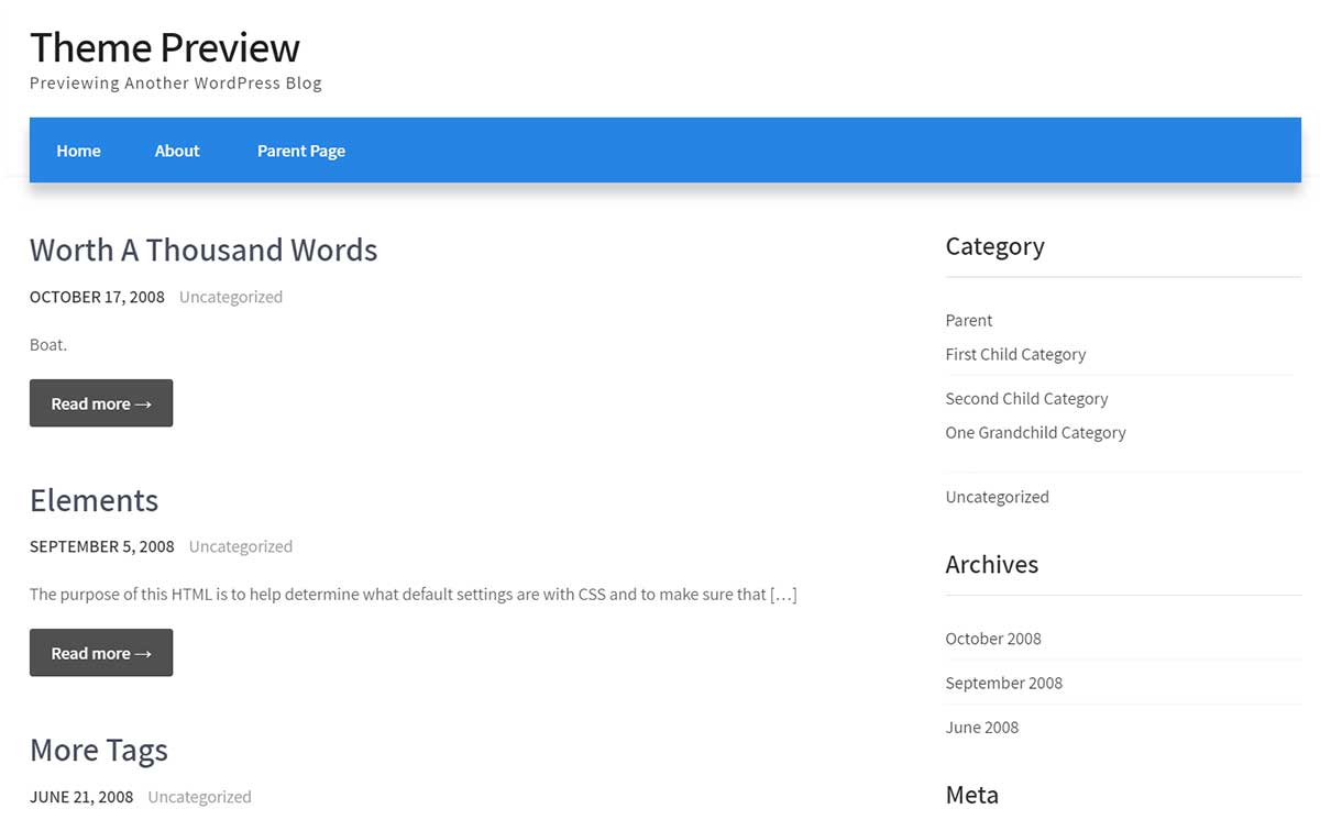 Preview of a WordPress theme