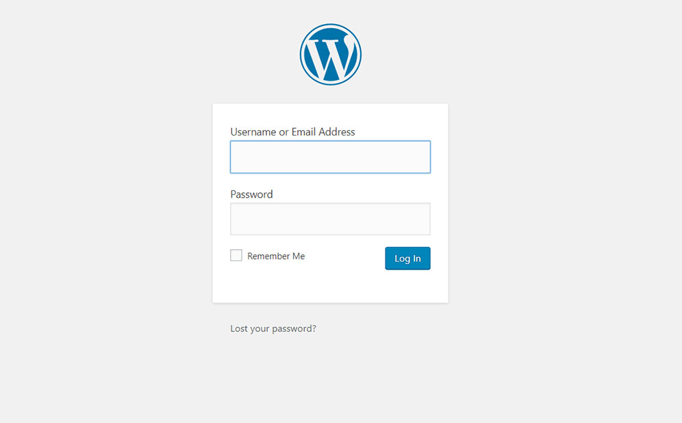 WordPress log in page