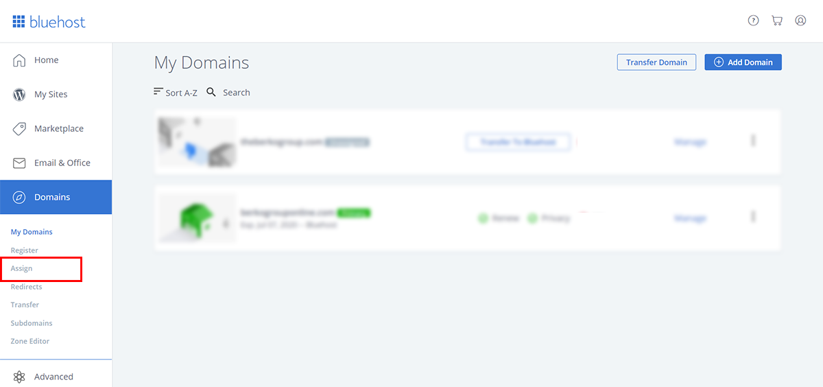 Assign domain on Bluhost