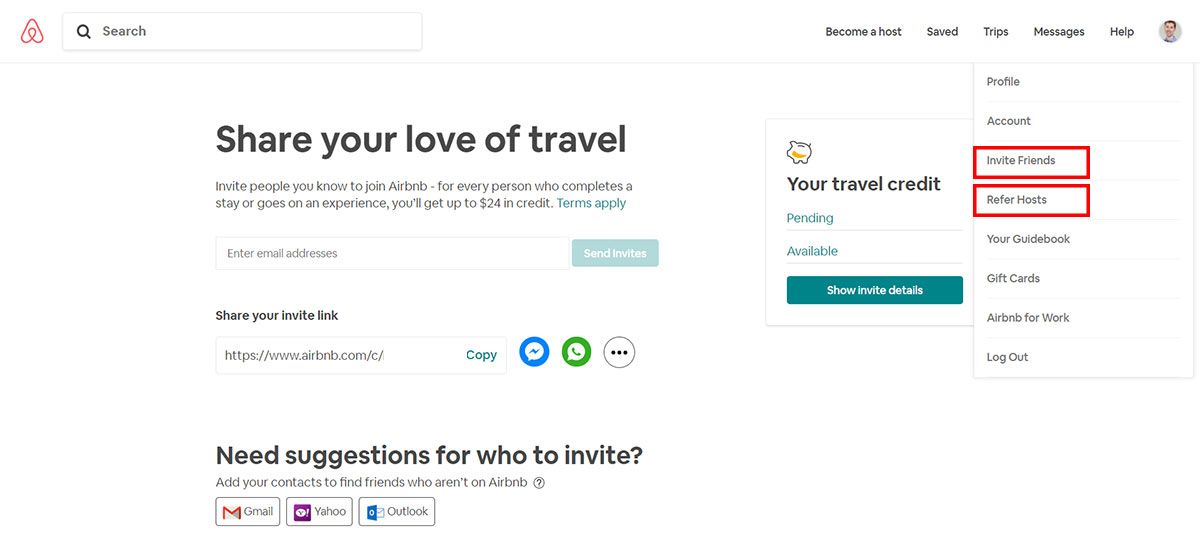 Referral program airbnb