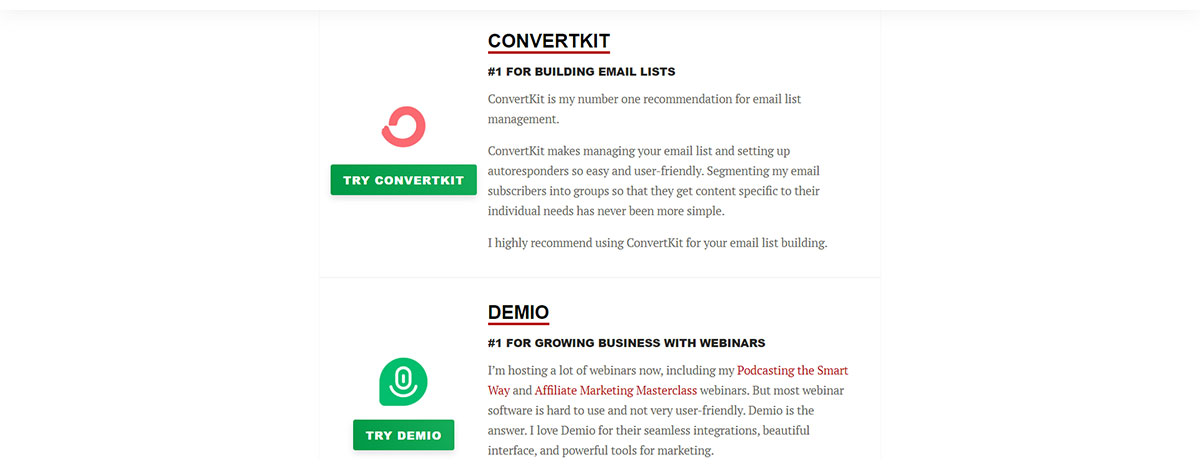 ConvertKit resource page