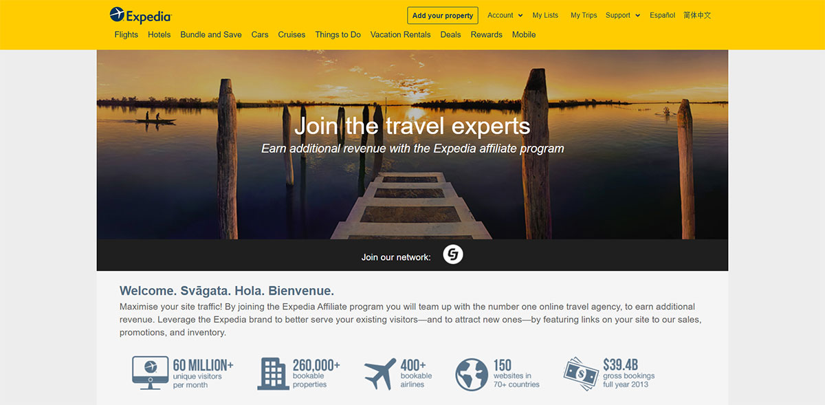 Expedia affiliate landing page