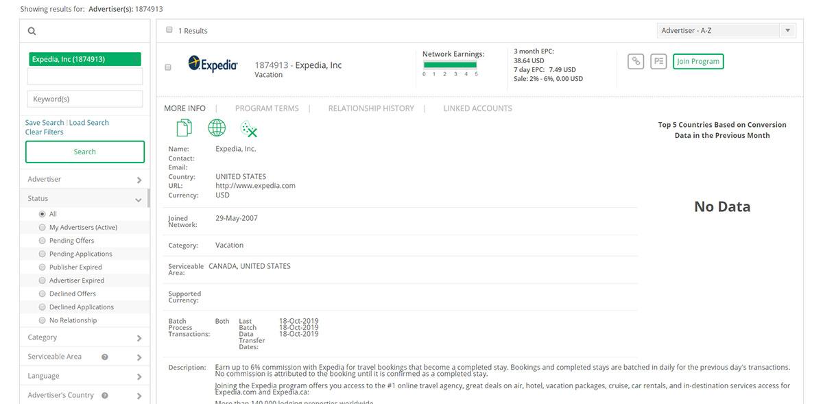 Expedia affiliate program commission