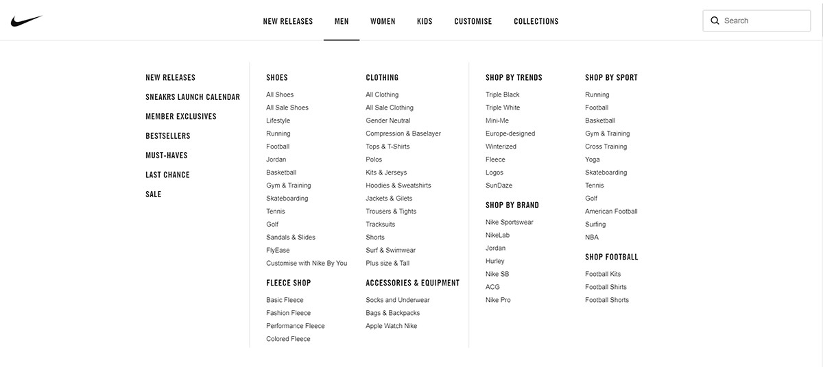 Nike product categories