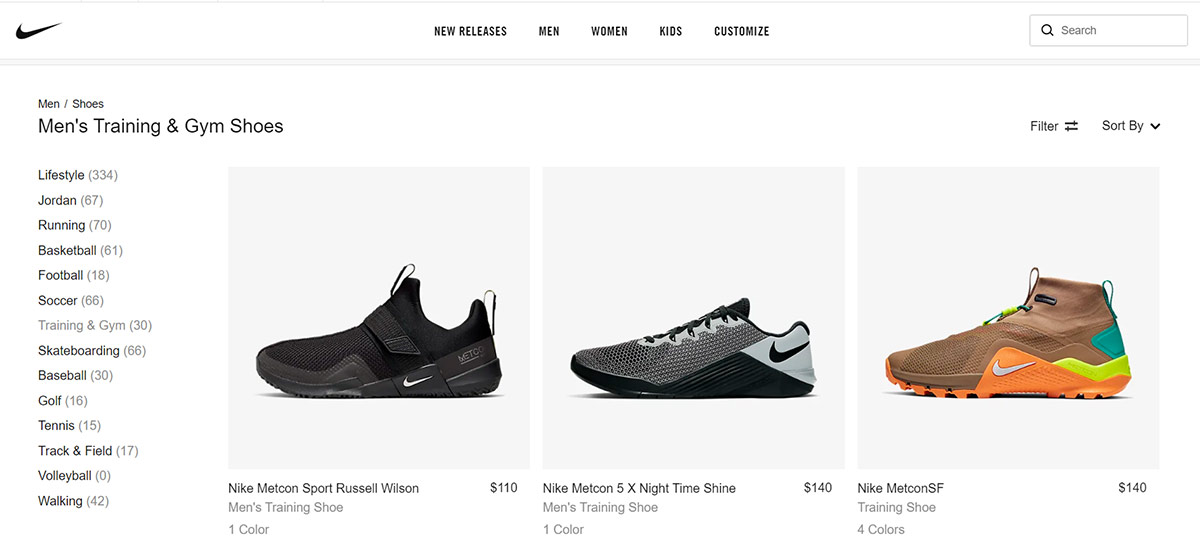 Nike shoes category