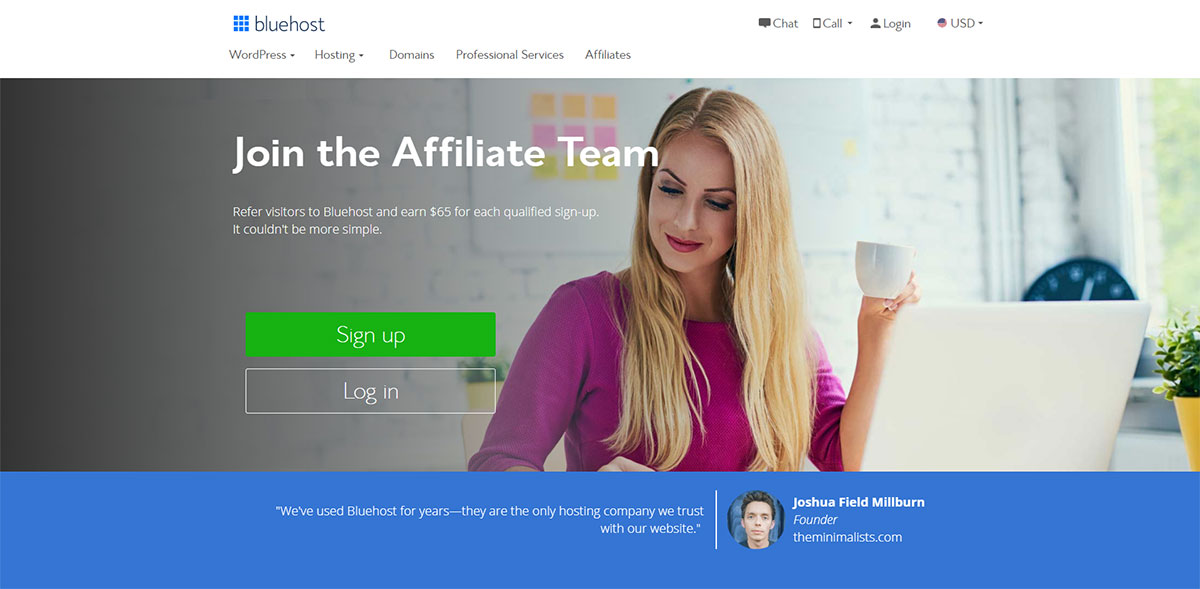 Bluehost affiliate landing-page
