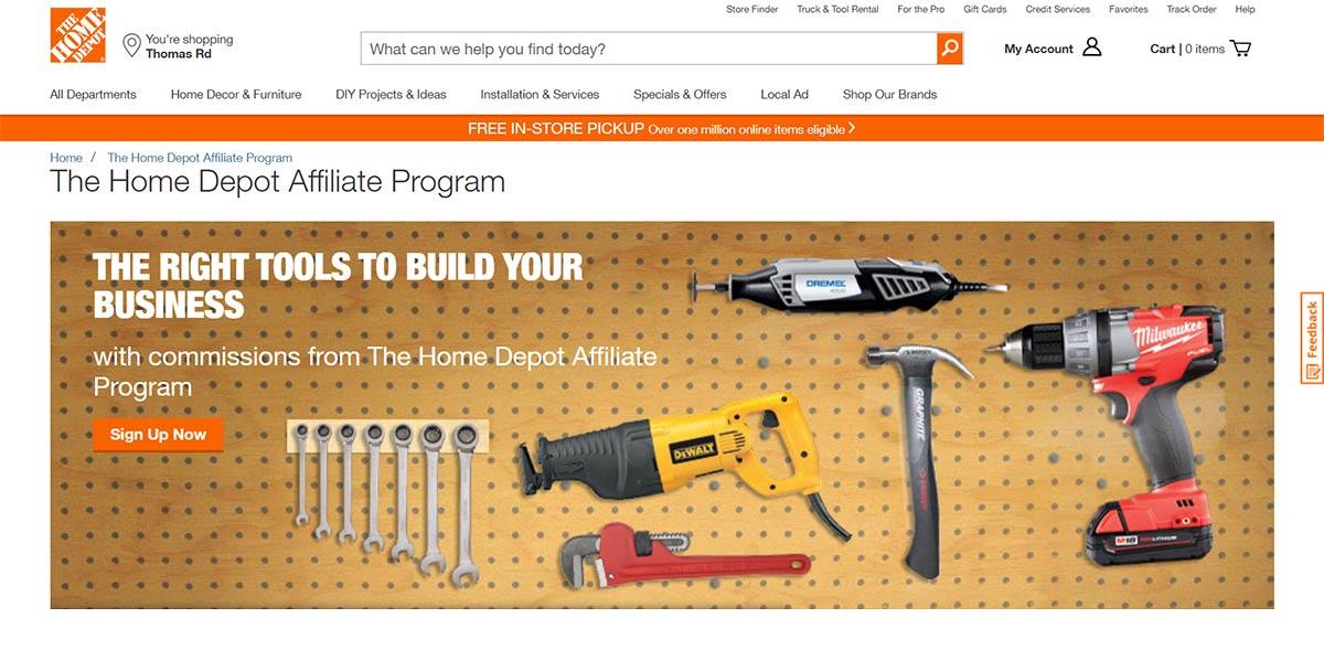 Home depot affiliate program landing page