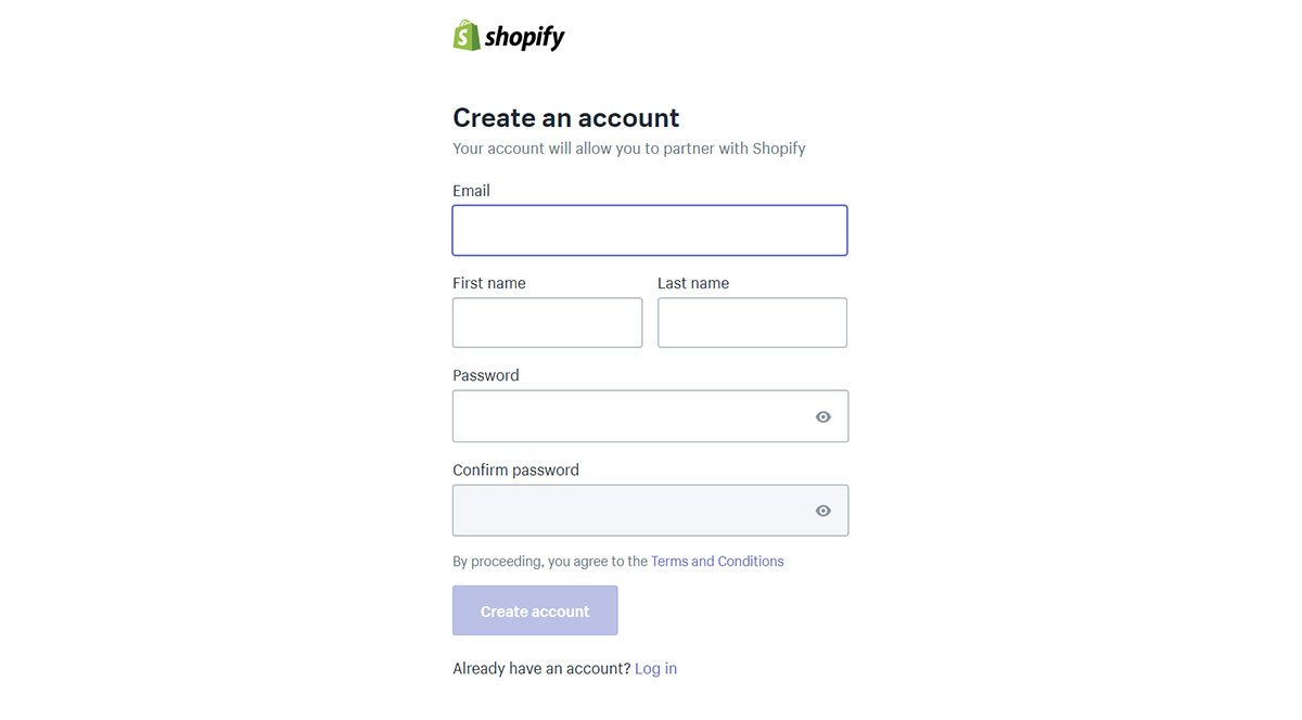 Shopify affilaite sign up