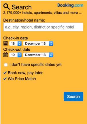 Booking.com search box