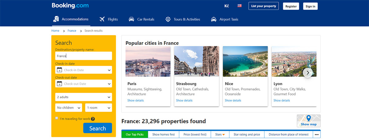 Promoting France listing